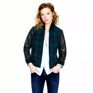 J. Crew Black Watch Varsity Bomber Jacket Plaid S